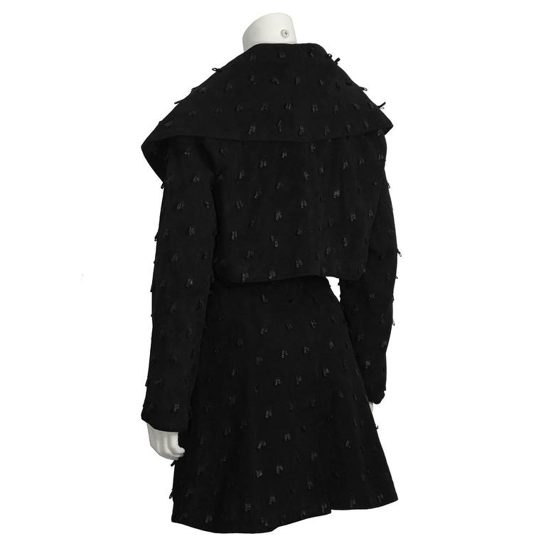 1980's Alaia Black Suede Jacket and Skirt Set In Excellent Condition For Sale In Toronto, Ontario