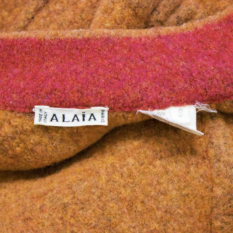 1990's Alaia Orange Boiled Wool Cardigan For Sale 1