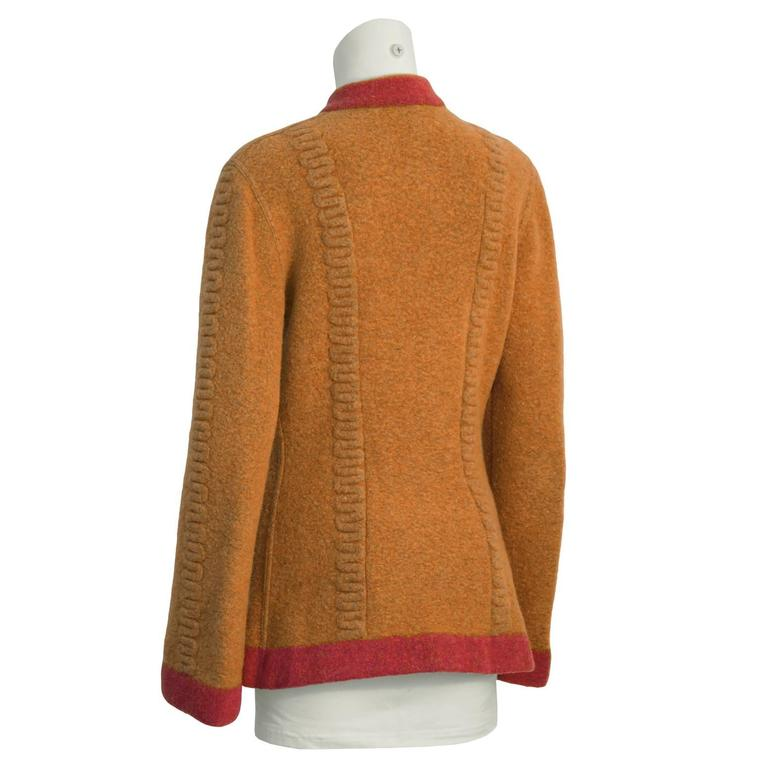 Brown 1990's Alaia Orange Boiled Wool Cardigan For Sale