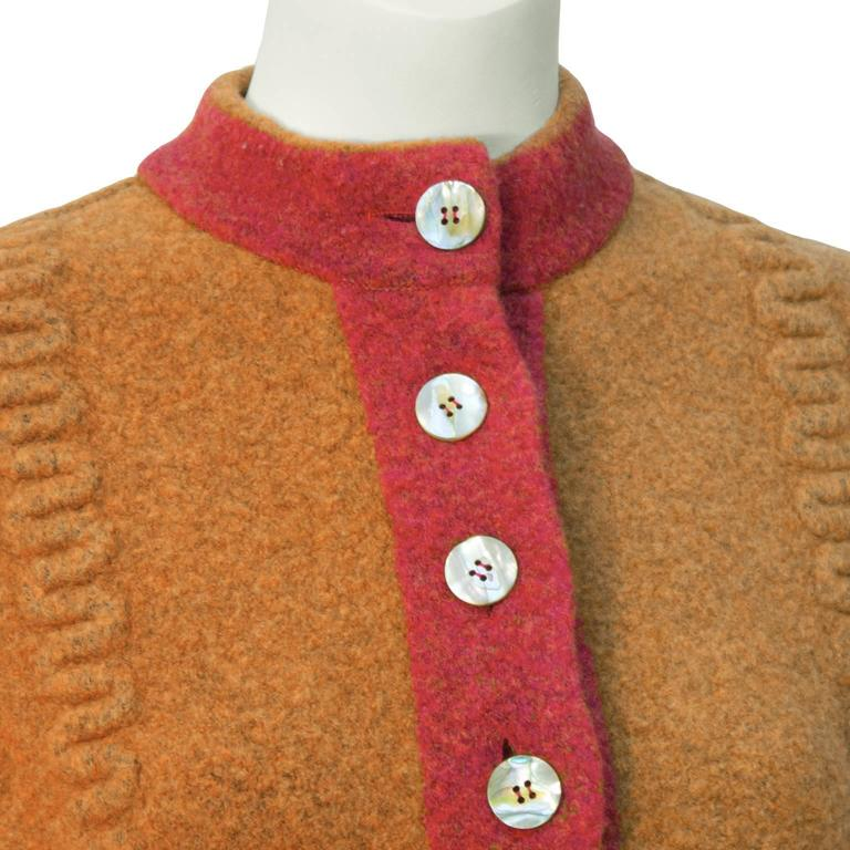 1990's Alaia Orange Boiled Wool Cardigan In Excellent Condition For Sale In Toronto, Ontario