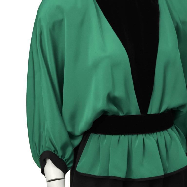 Women's 1990's Valentino Night Green and Black Gown  For Sale