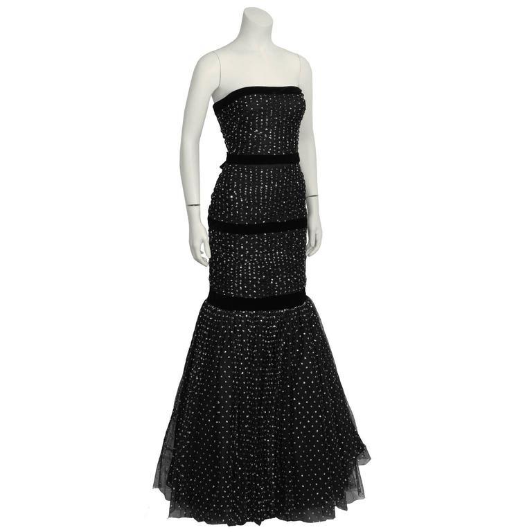 Hattie 1960's Black StraplessTulle Jewelled Gown 3