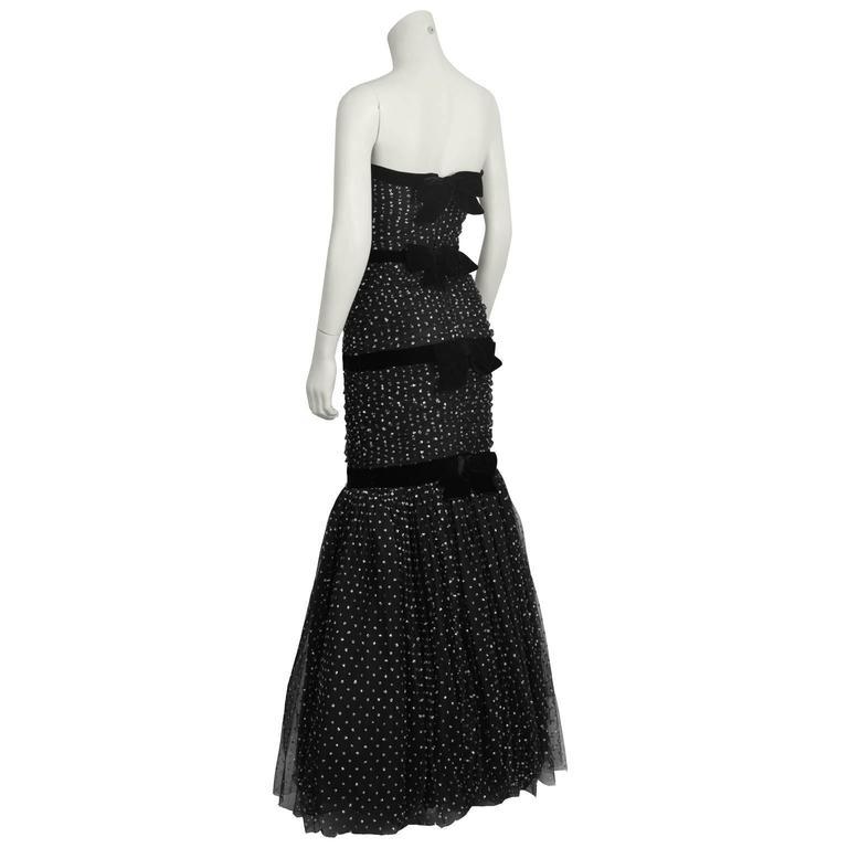 Hattie 1960's Black StraplessTulle Jewelled Gown 2