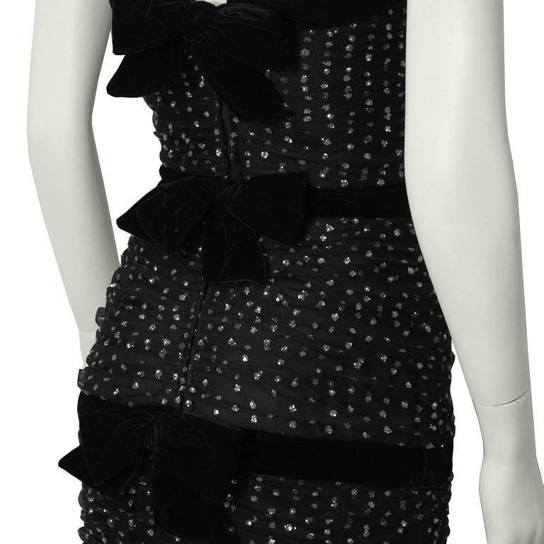 Hattie 1960's Black StraplessTulle Jewelled Gown 5