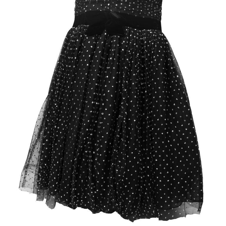 Hattie 1960's Black StraplessTulle Jewelled Gown 4