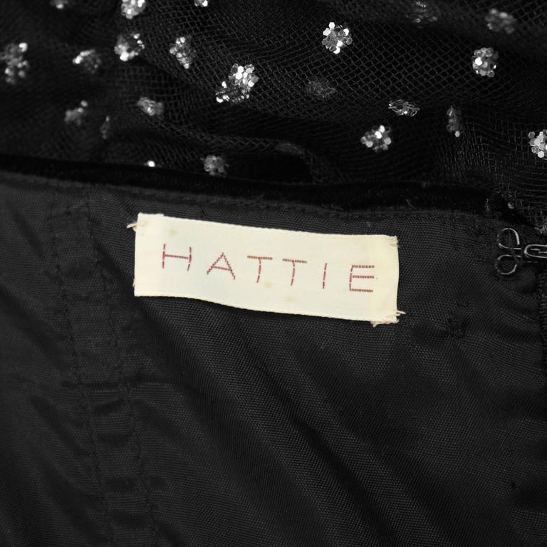 Hattie 1960's Black StraplessTulle Jewelled Gown 7