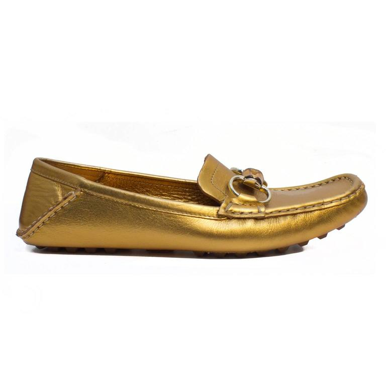 Brown Gucci 2000s Gold Loafers with Bamboo  For Sale