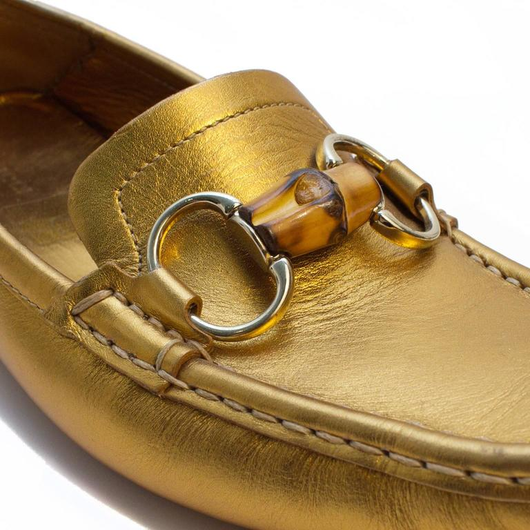 Women's Gucci 2000s Gold Loafers with Bamboo  For Sale