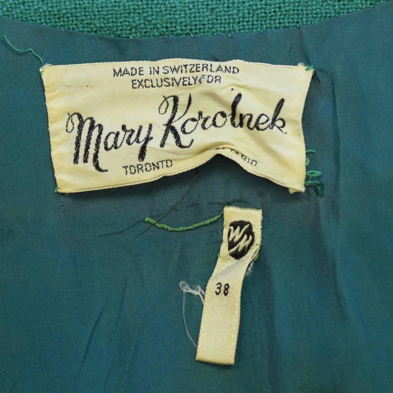 1960's Mary Korolnek Cream and Green Dress Set For Sale 1
