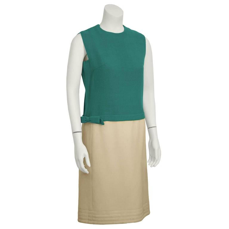 Beige 1960's Mary Korolnek Cream and Green Dress Set For Sale