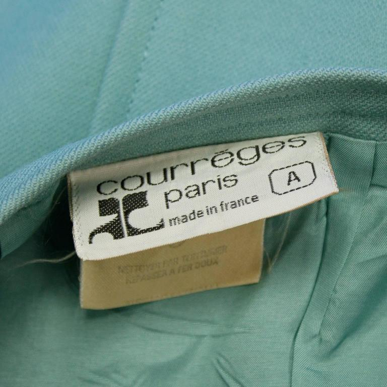 Women's 1960's Courreges Turquoise Wool Skirt  For Sale