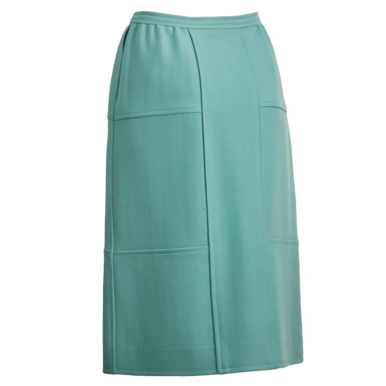 Blue 1960's Courreges Turquoise Wool Skirt  For Sale