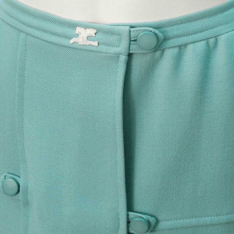 1960's Courreges Turquoise Wool Skirt  In Excellent Condition For Sale In Toronto, CA