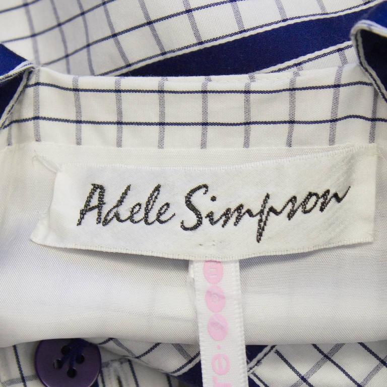 1970's Adele Simpson White and Navy Cotton Maxi Dress For Sale 1