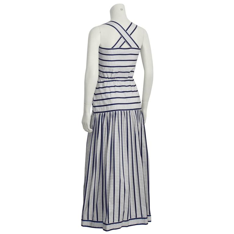 Gray 1970's Adele Simpson White and Navy Cotton Maxi Dress For Sale
