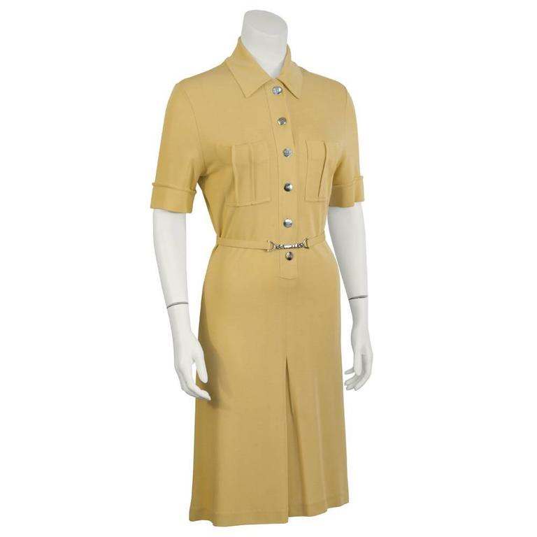 1970s Paco Rabanne Butterscotch Day Dress   2