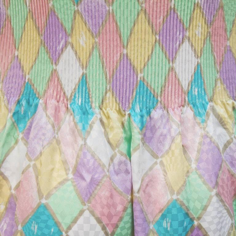 1980's Mary McFadden Pastel Pleated Dress 5