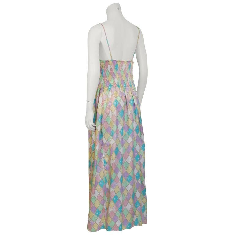 1980's Mary McFadden Pastel Pleated Dress 2