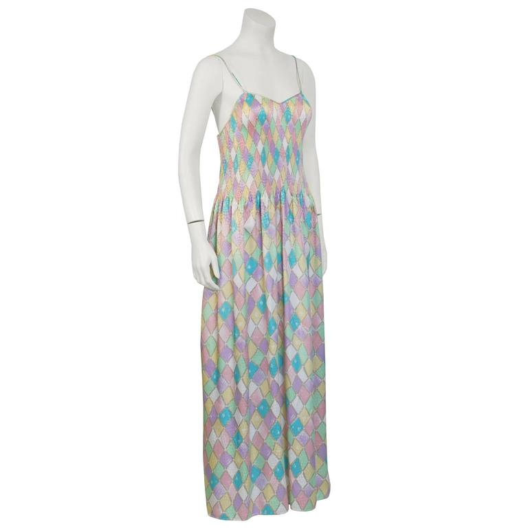 1980's Mary McFadden Pastel Pleated Dress 3