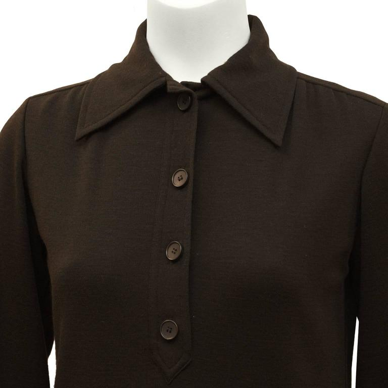 Women's 1970's Yves Saint Laurent YSL Brown Wool Day Dress For Sale