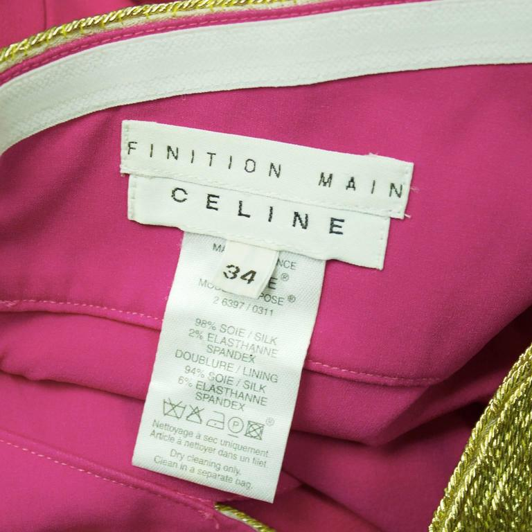 Spring 2004 Celine Gold and Pink Strapless Cocktail Dress 5