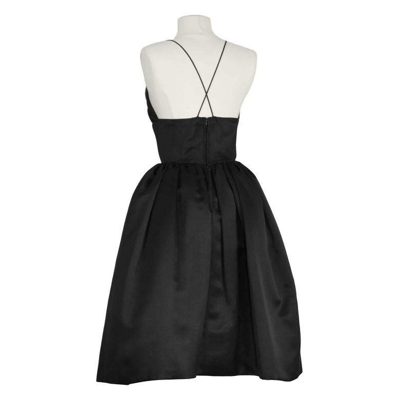 1950's Norell Black Satin Pouf Cocktail Dress In Excellent Condition For Sale In Toronto, CA