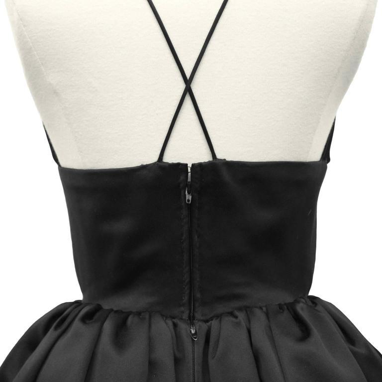 1950's Norell Black Satin Pouf Cocktail Dress 4