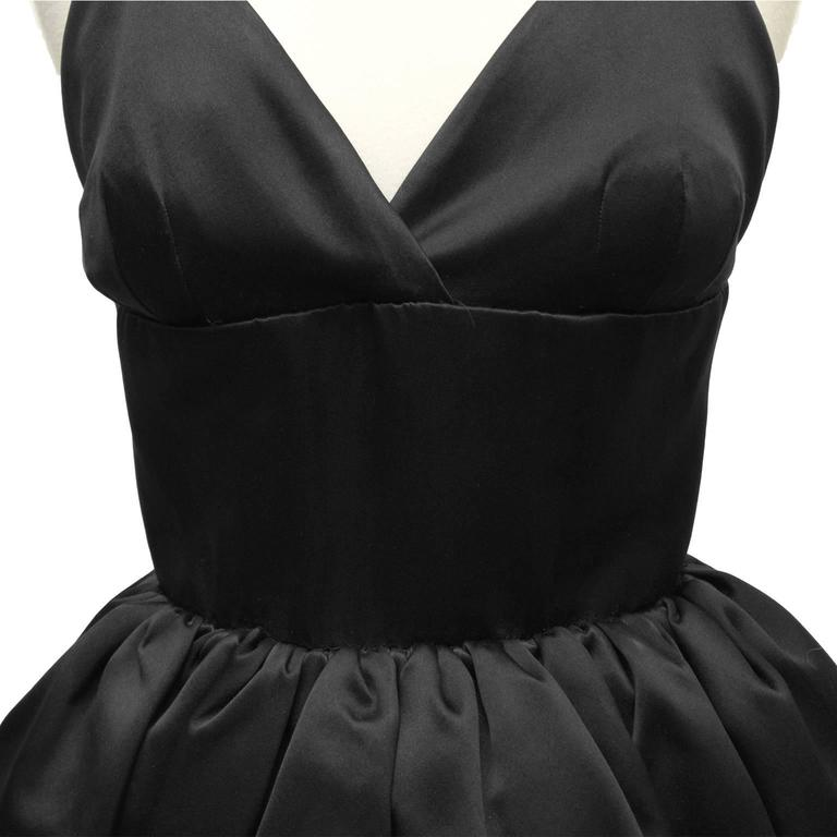 1950's Norell Black Satin Pouf Cocktail Dress For Sale 1