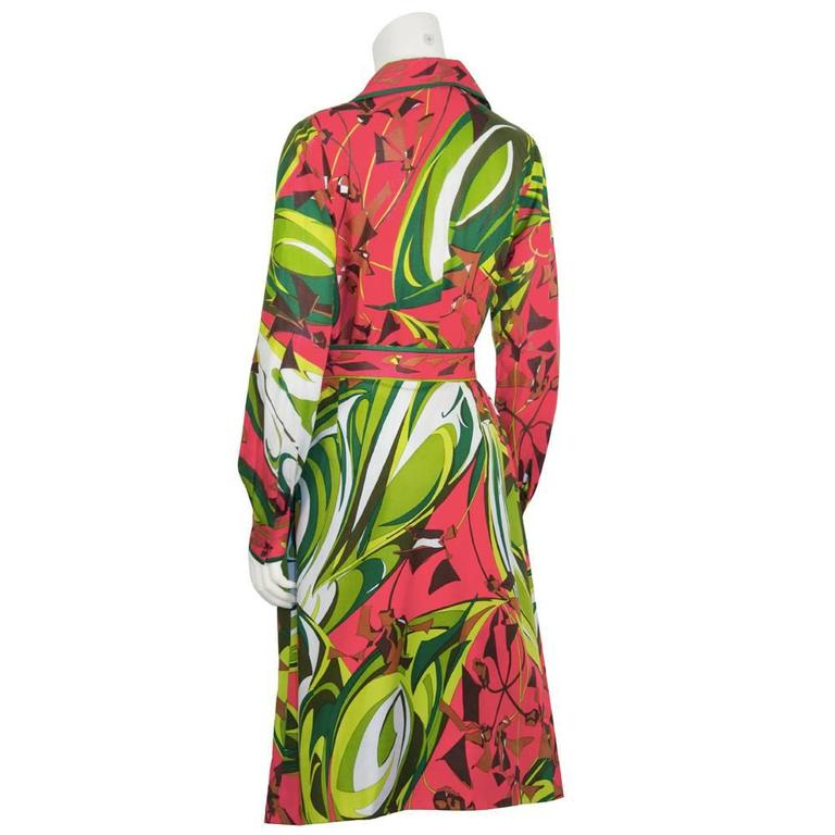Pink 1970's Emilio Pucci Printed Cotton Shirt and Skirt Set For Sale