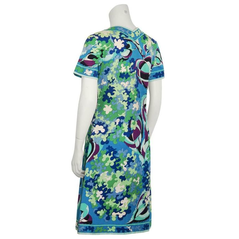 1970's Emilio Pucci Cotton Blue and Green Dress In Excellent Condition For Sale In Toronto, CA