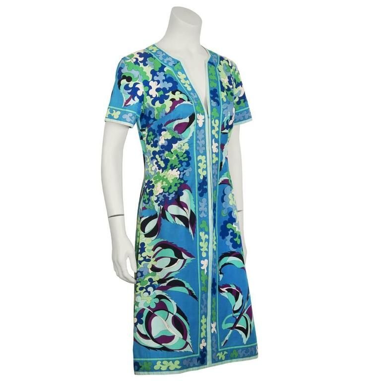 1970's Emilio Pucci Cotton Blue and Green Dress 2