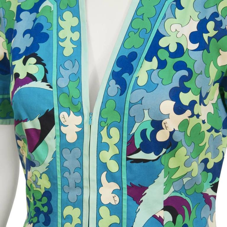1970's Emilio Pucci Cotton Blue and Green Dress 4