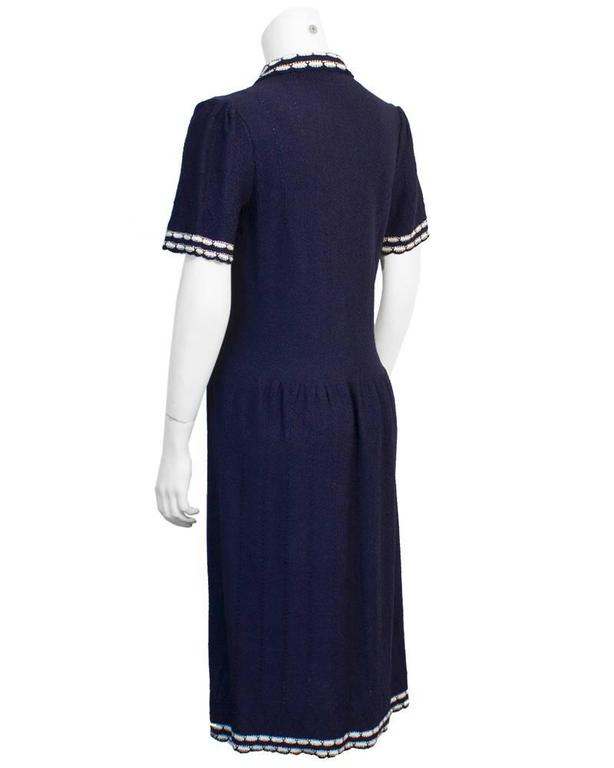1980's Adolfo Navy knitted dress with White Piping  2