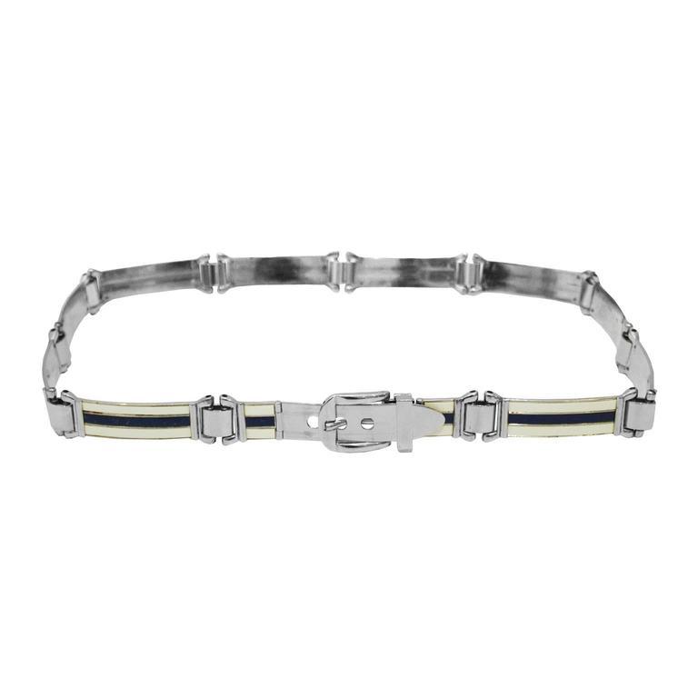 1970's Gucci Silver Enamel Belt