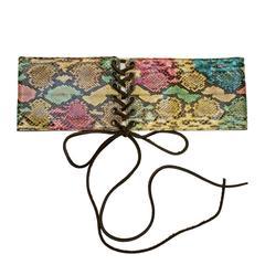 1970's Yves Saint Laurent YSL Multi-color Lace-up Belt