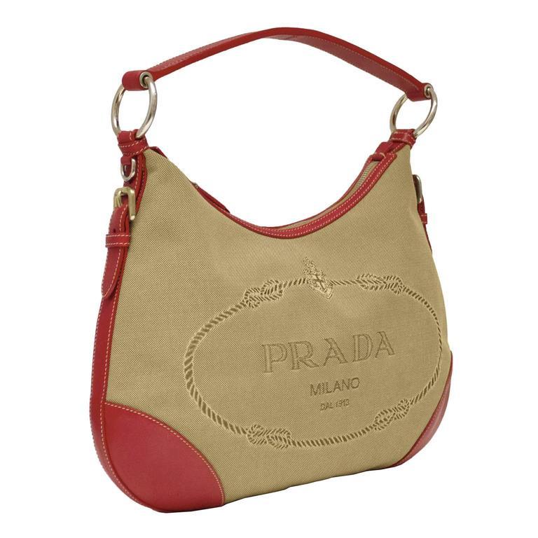 2000 Prada Hobo Bag with Red Trimming 2