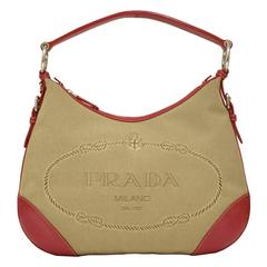 2000 Prada Hobo Bag with Red Trimming