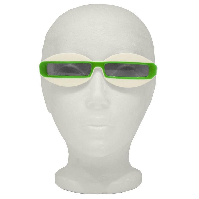 1960's Green and White Futuristic Sunglasses