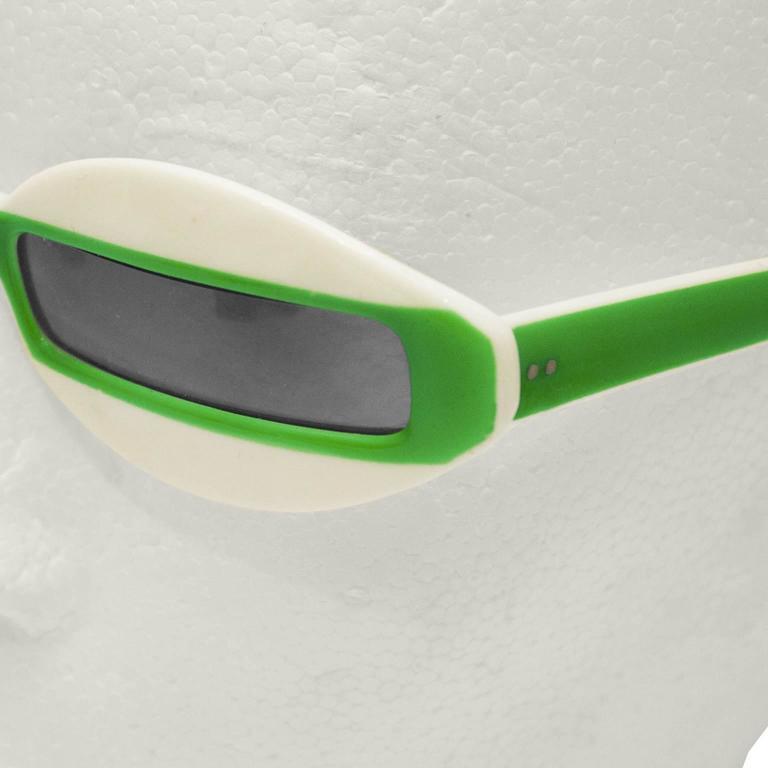 Gray 1960's Green and White Futuristic Sunglasses For Sale