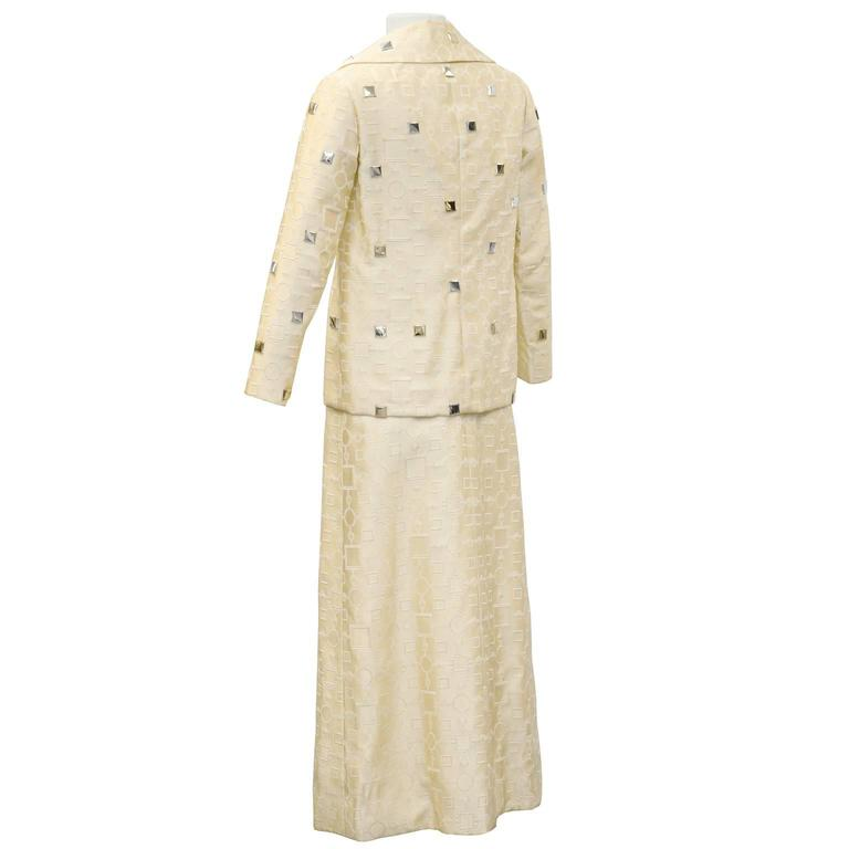 Beige 1960's Cream Dress and Jacket with Silver Pallettes  For Sale