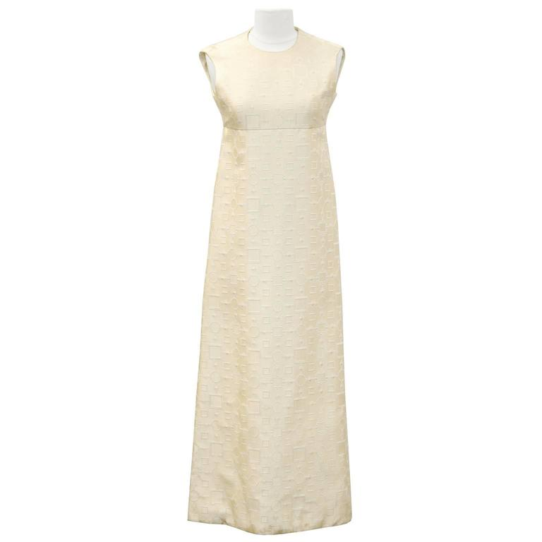 1960's Cream Dress and Jacket with Silver Pallettes  In Excellent Condition For Sale In Toronto, Ontario