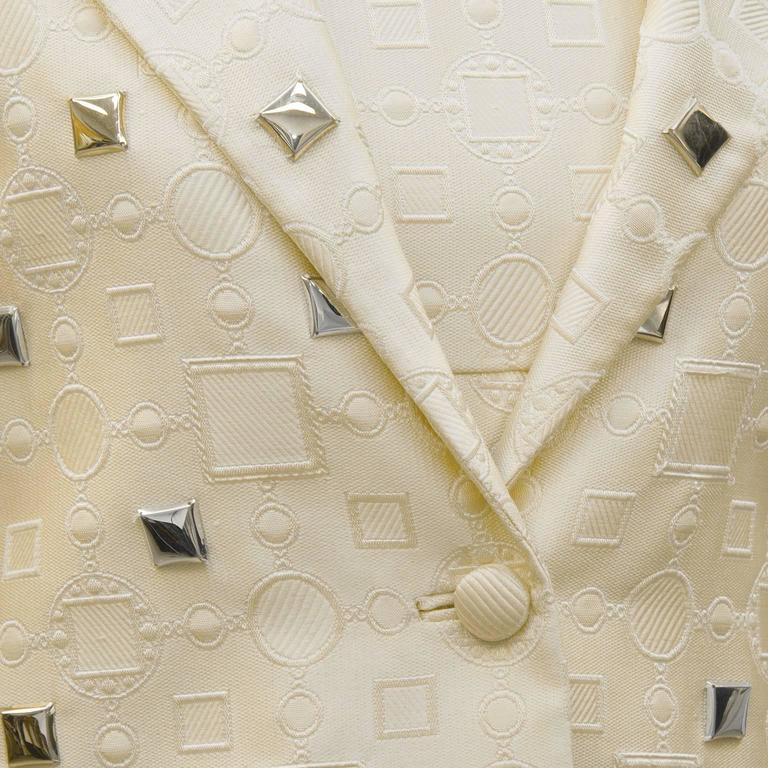 1960's Cream Dress and Jacket with Silver Pallettes  For Sale 1