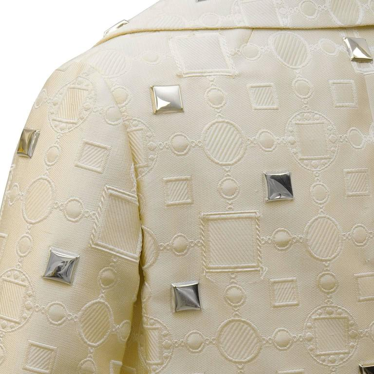 Women's 1960's Cream Dress and Jacket with Silver Pallettes  For Sale