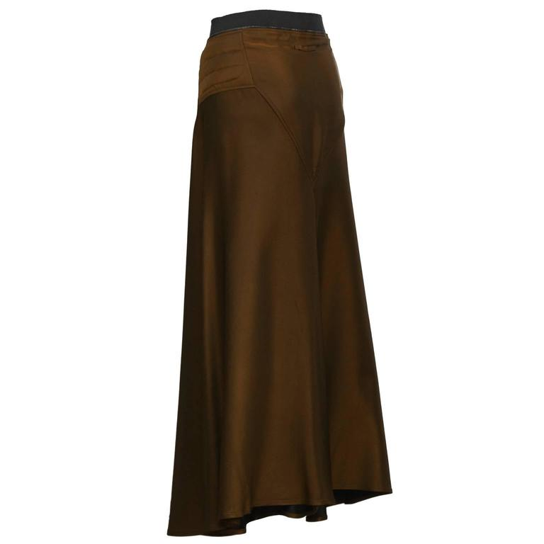Black 2000's Gaultier Brown Maxi Skirt For Sale