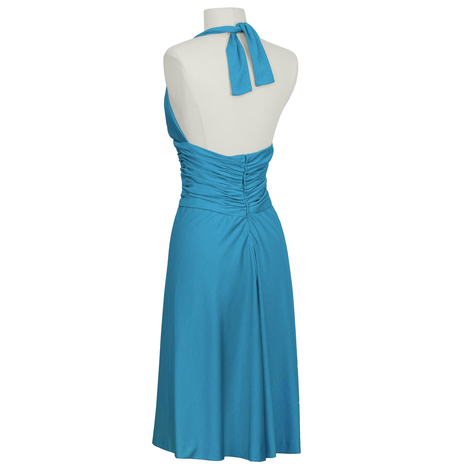 1980\'s Loris Azzaro Turquoise Halter Dress For Sale at 1stdibs