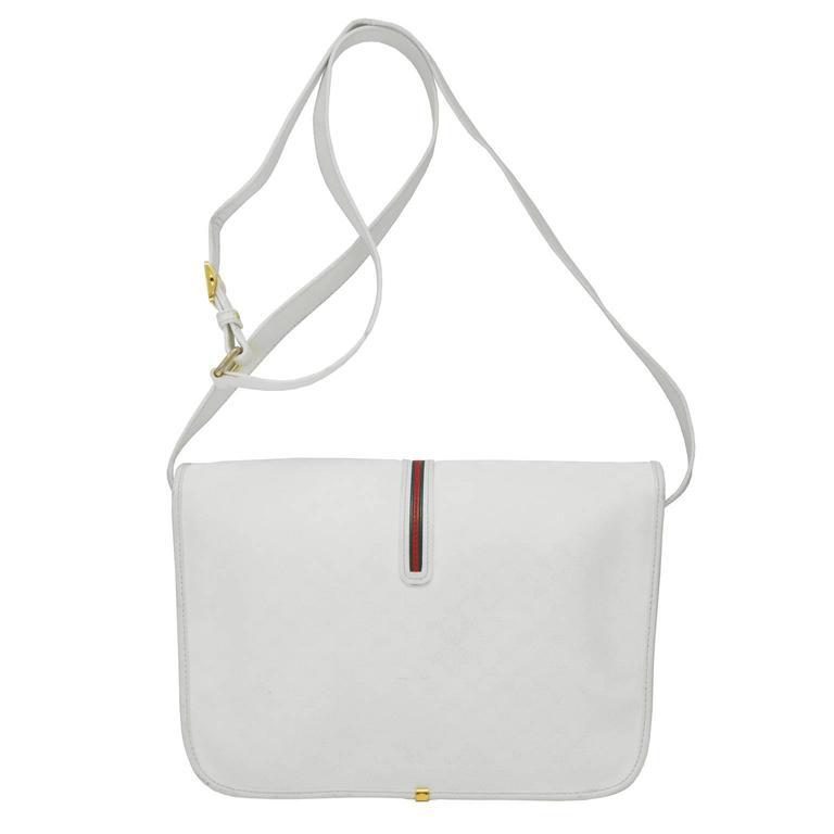 Gray 1970's Gucci White Messenger Bag  For Sale