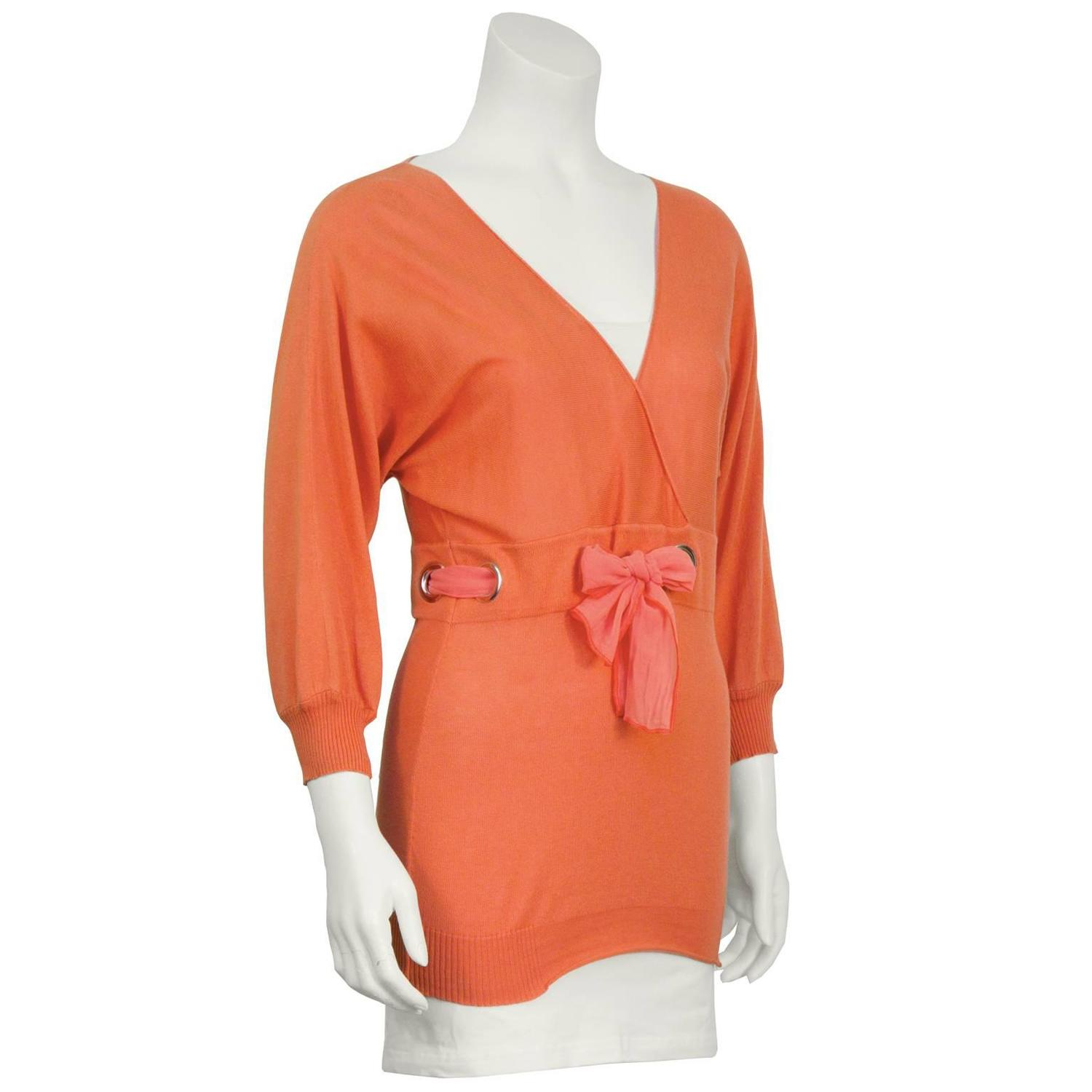 1990's Chloe Peach Sweater with Chiffon Tie For Sale at ...