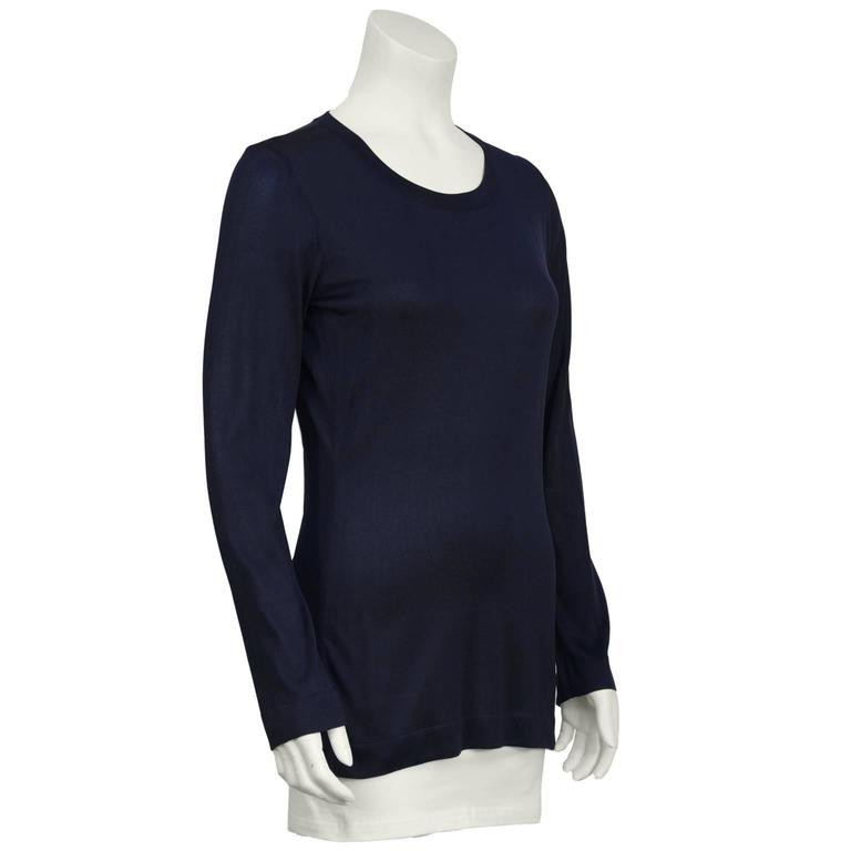 1990's Chanel Navy Classic Long Sleeve Top  2