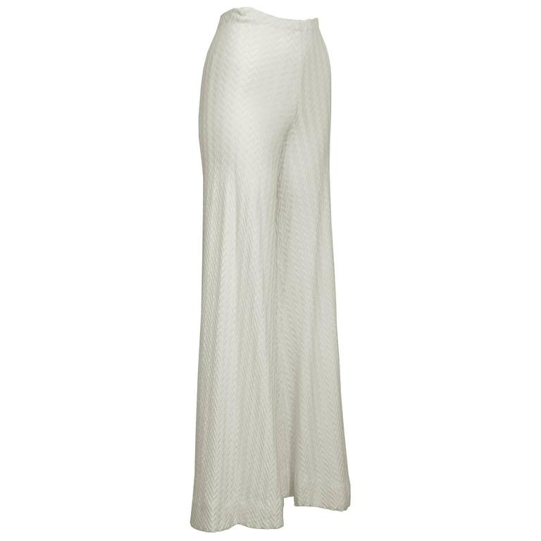 1970's Early Missoni Cream Knit Palazzo Pants  2