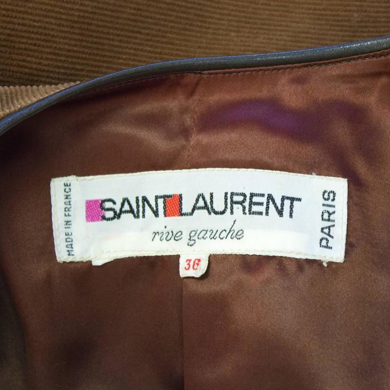 Women's 1970's Yves Saint Laurent YSL Corduroy Bolero For Sale